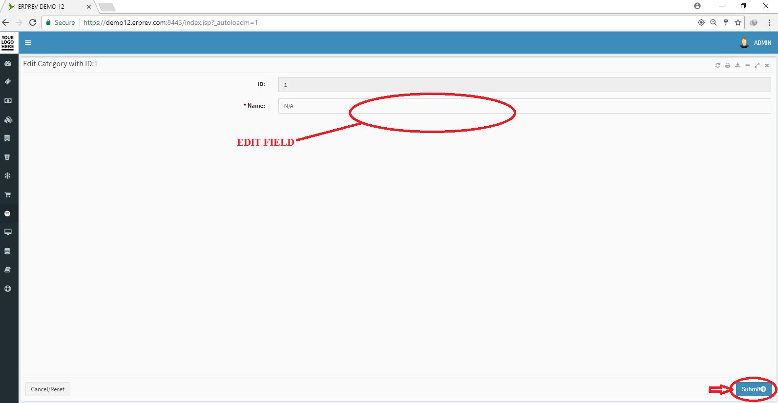 Edit Service Category