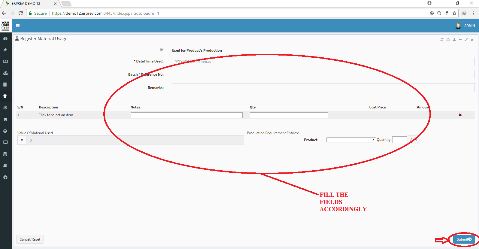 Register Material Usage